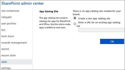 Create new app catalog