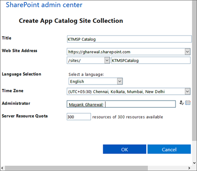 Fill out entries to create app calatog Site collection