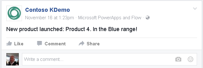Facebook message posted by a Microsoft flow.