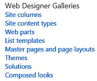 SharePoint Web Designer Galleries