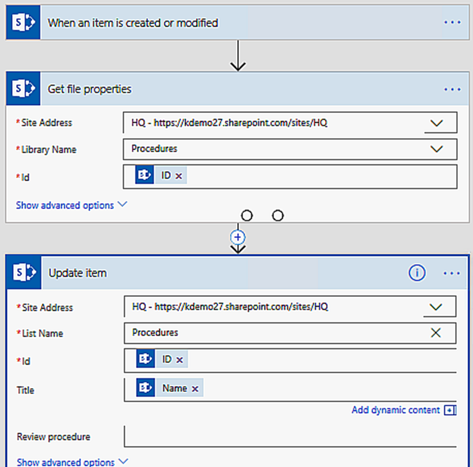 Microsoft flow to set title in SharePoint library