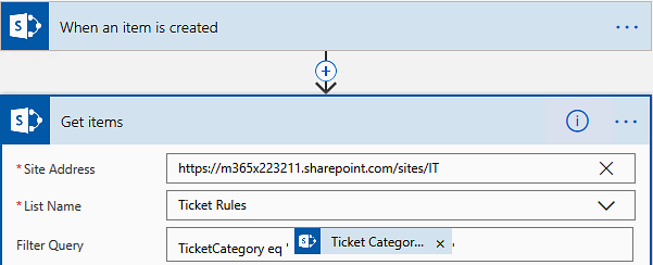 Flow that sets the SharePoint ticket assignee by category