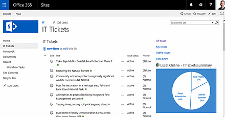 SharePoint landing page with web part