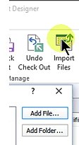 SharePoint Designer Import Files button