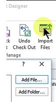 SharePoint Designer Import Files button