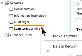 Keywords management in SharePoint term store
