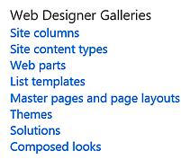 SharePoint Web Designer Galleries