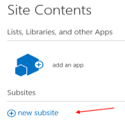 SharePoint new subsite command
