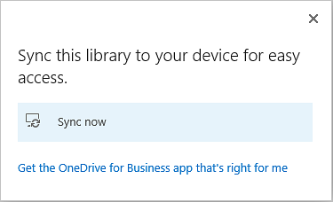 OneDrive sync Dialog