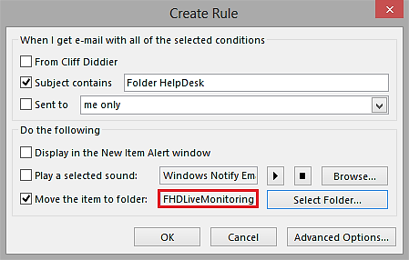 Create Rules dialog after selecting folders