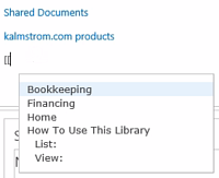 SharePoint wiki link selection