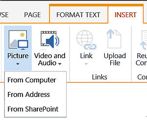 SharePoint Insert tab - Picture