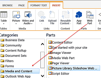 SharePoint Insert tab - Web Part