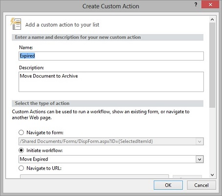 Create custom action window