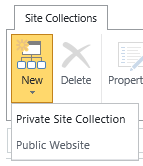 SharePoint Create Site Collection Button
