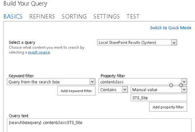 SharePoint Search Query window