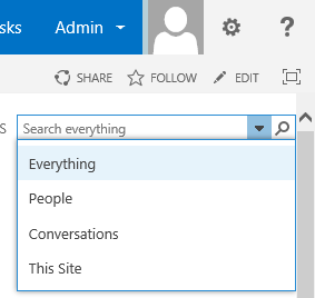 SharePoint Search center dropdown
