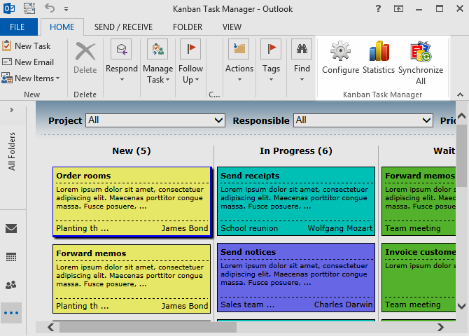 Kanban Task Manager Single for Outlook Screen shot