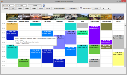 Calendar Browser Bookings Overview