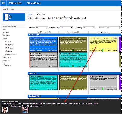 Kanban Task Manager for SharePoint details pane on kanban board