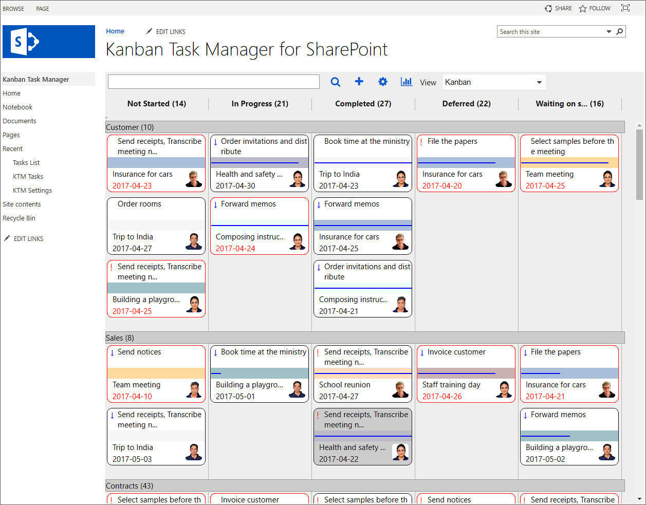 The Kanban Task Manager for SharePoint kanban view