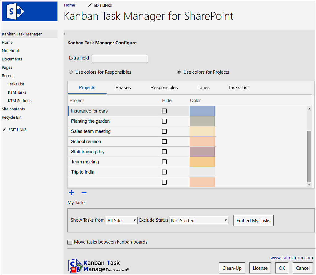 The Kanban Task Manager for SharePoint configuration page